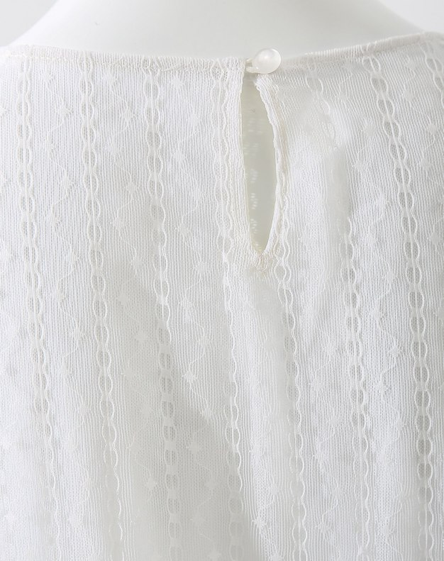 White Round Neck One Botton Short Sleeve Standard Women's Shirt