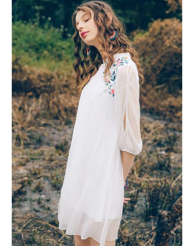 White Stand Collar Half Sleeve Standard Women's Dress