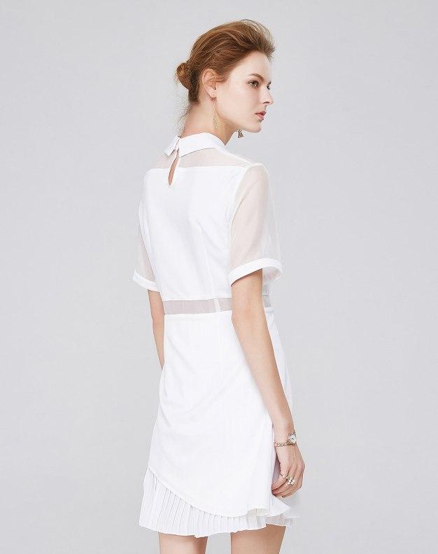 화이트 반팔 티셔츠 A라인 여성 드레스