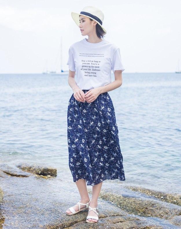 Colourful 3/4 Length Women's Skirt