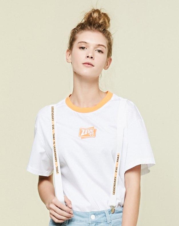 블루 알파벳 반팔 표준 여성 티셔츠