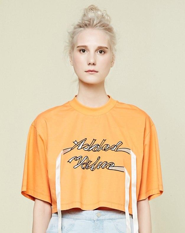 레드 알파벳 반팔 표준 여성 티셔츠