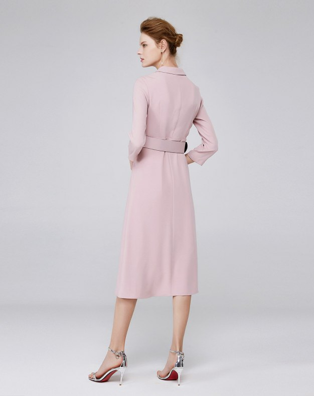 레드 3/4소매 A라인 여성 드레스