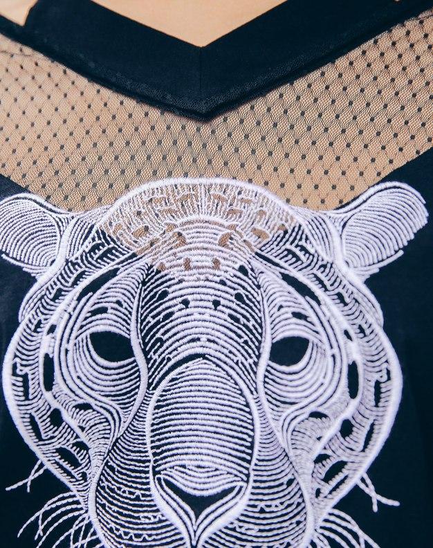 Black V Neck 3/4 Sleeve Standard Women's T-Shirt