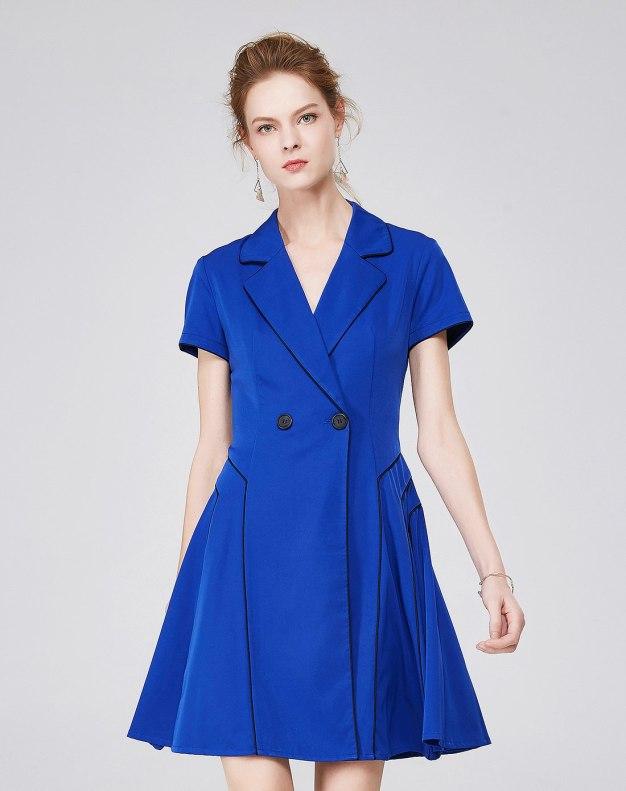 블루 반팔 티셔츠 A라인 스커트 여성 드레스