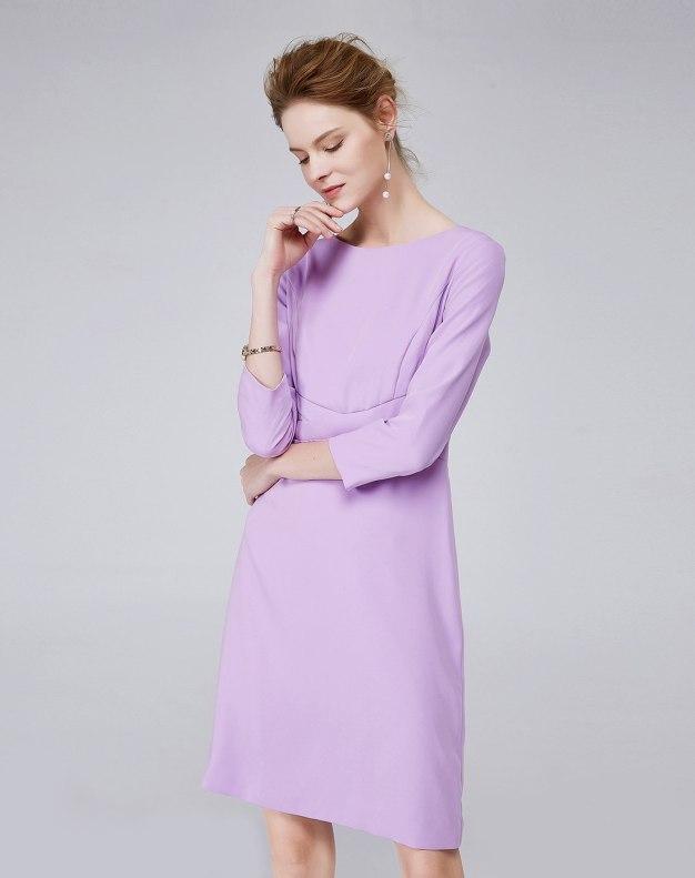 퍼플 3/4소매 A라인 스커트 여성 드레스