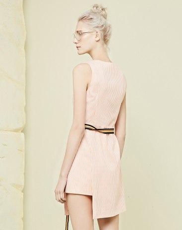 Red V Neck Sleeveless Asymmetric Standard Women's Dress