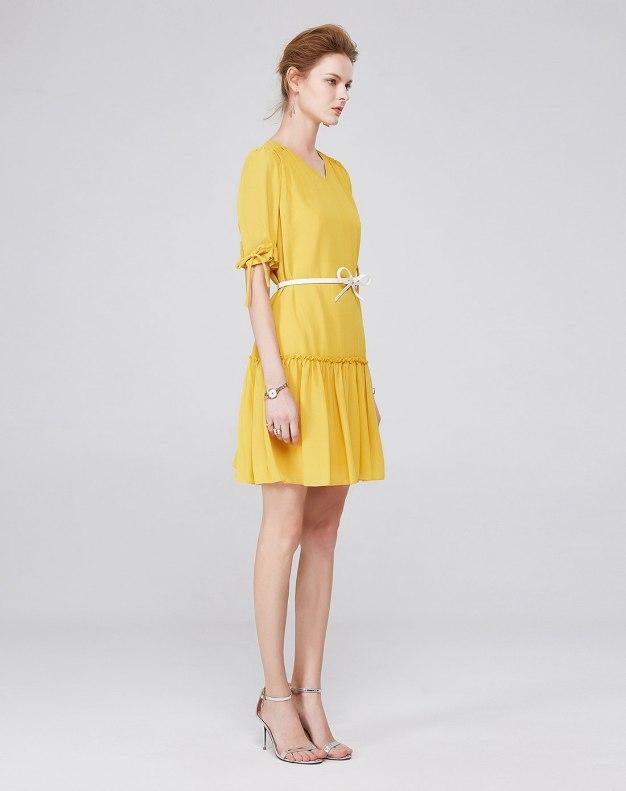 옐로우 반팔 티셔츠 A라인 스커트 여성 드레스