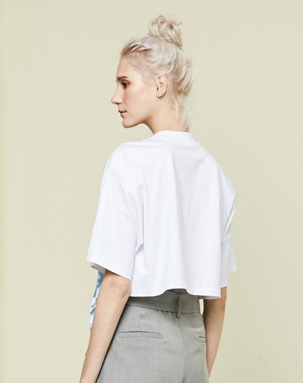 화이트 알파벳 반팔 표준 여성 티셔츠