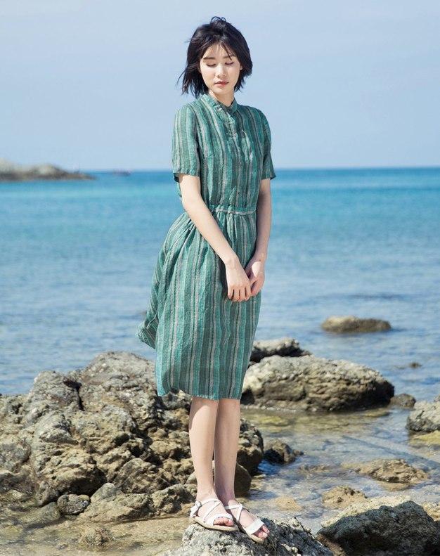 Green Stand Collar Short Sleeve Long Fitted Women's Dress