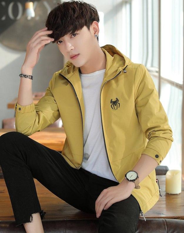 Yellow Hidden Hood Long Sleeve Men's Jacket