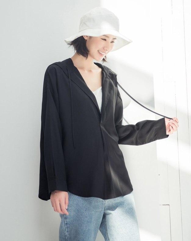 Black Plain Long Sleeve Standard Women's Shirt