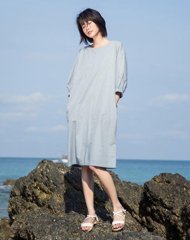 Blue Round Neck 3/4 Sleeve Long Standard Women's Dress