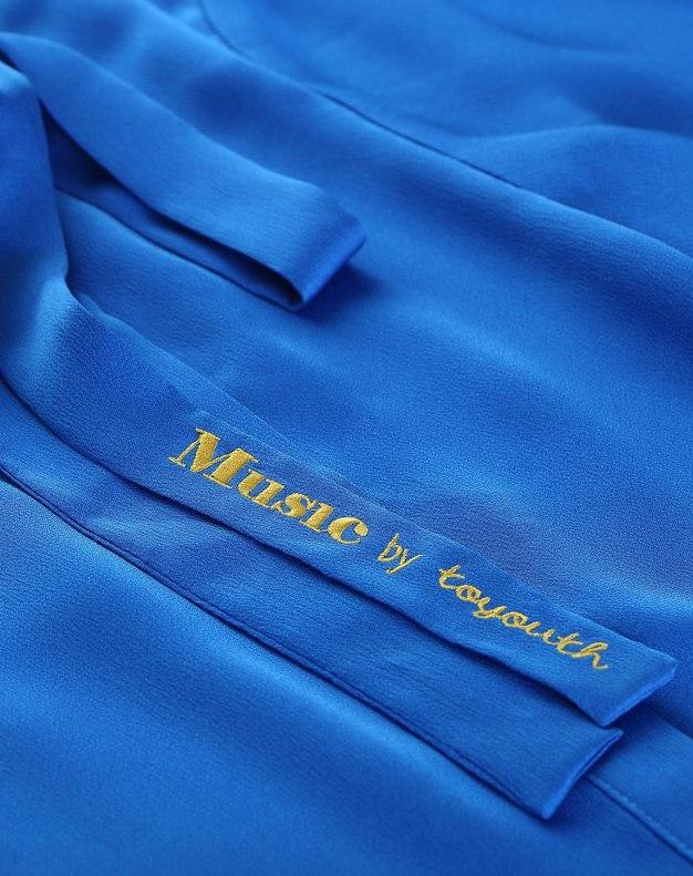 Blue Round Neck Elastic 3/4 Sleeve Women's Shirt