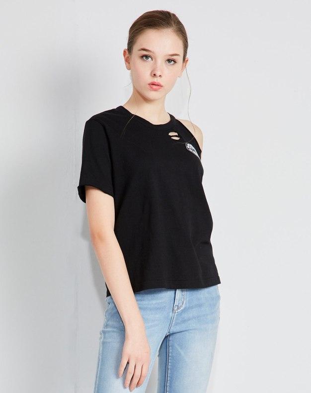 블랙 알파벳 반팔 표준 여성 티셔츠