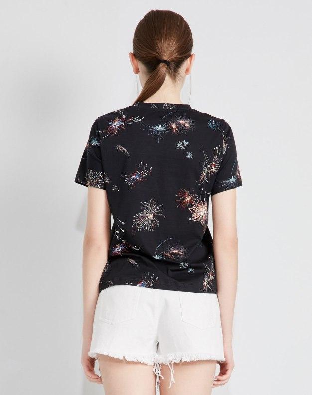 블랙 풍경패턴 반팔 표준 여성 티셔츠