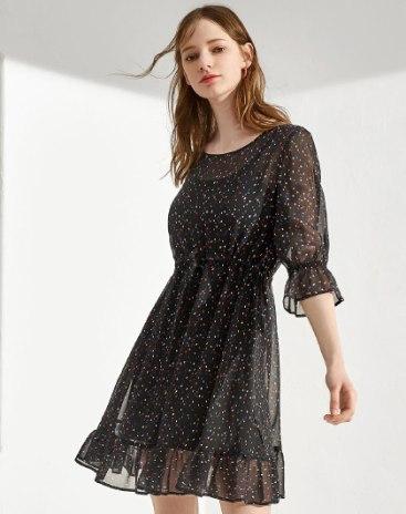 Black Round Neck Half Sleeve Standard Women's Dress