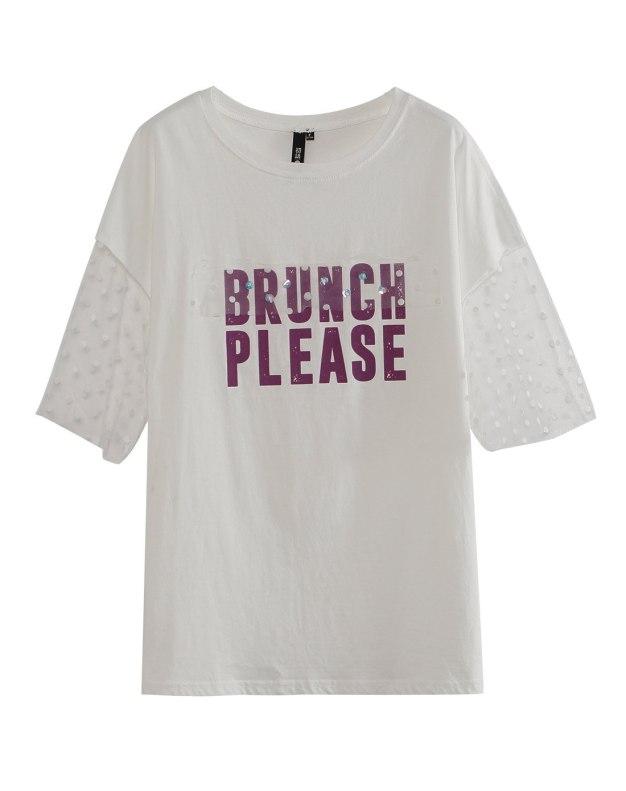 White Round Neck Short Sleeve Standard Women's T-Shirt