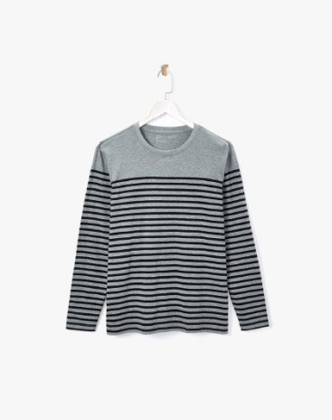 Stripes Round Neck Long Sleeve Standard Men's T-Shirt
