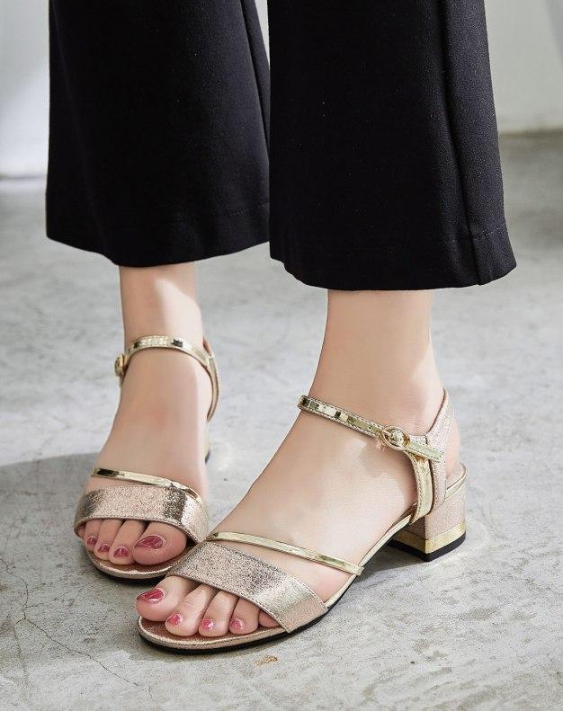 Yellow Middle Heel Women's Sandals