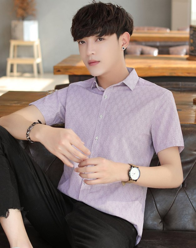 Red Pointed Collar Short Sleeve Fitted Men's Shirt