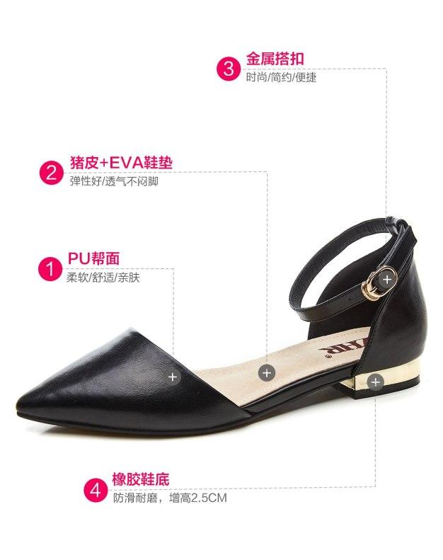 Black Cut Pointed Low Heel Anti Skidding Women's Sandals