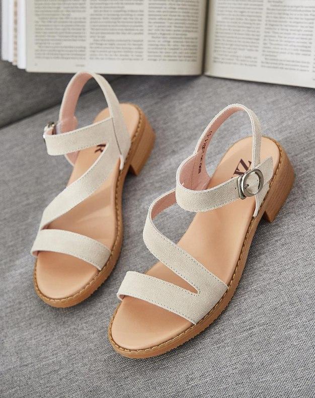 Beige Middle Heel Women's Sandals