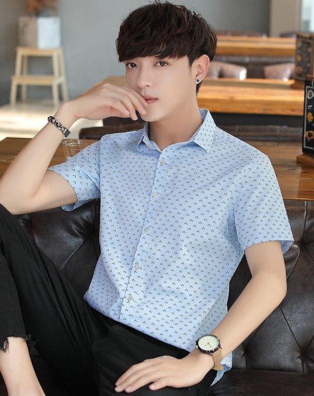 Blue Dot Lapel Short Sleeve Fitted Men's Shirt