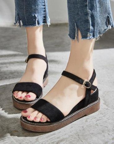 Black Wedges Portable Women's Sandals