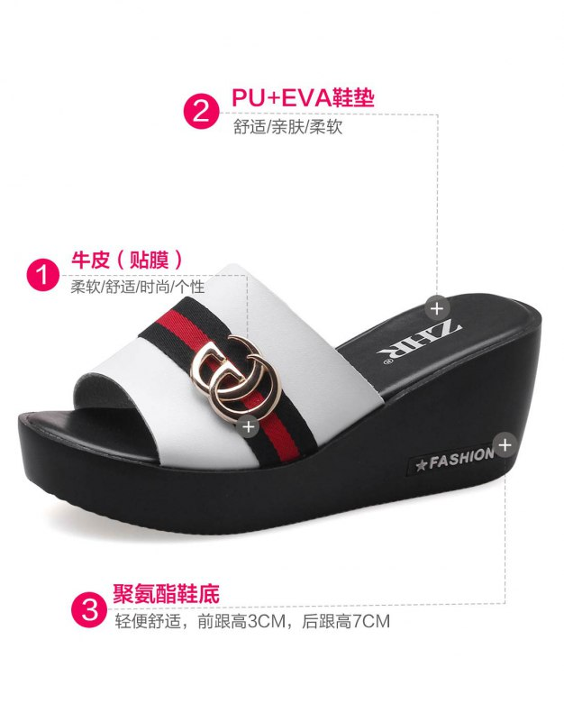 White Wedges Portable Women's Sandals