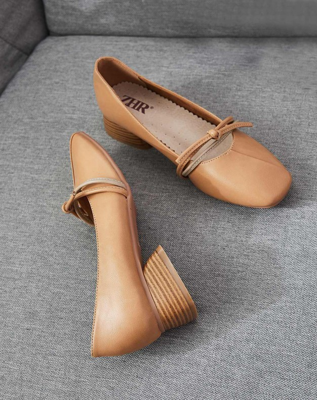 Brown Square Toe of Shoes Middle Heel Heighten Women's Pumps