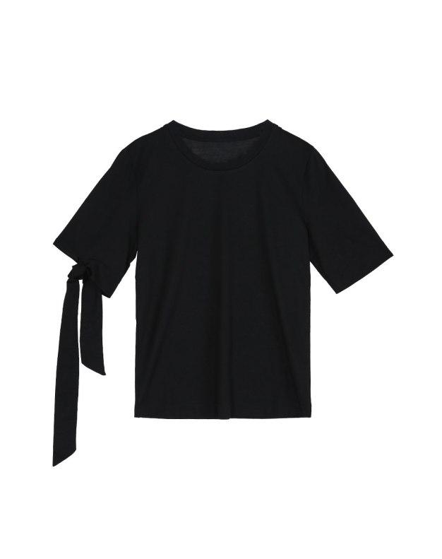 블랙 단색의 반팔 슬랙스 여성 티셔츠