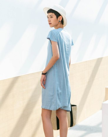 Blue V Neck Short Sleeve Basic 3/4 Length A Line Standard Women's Dress