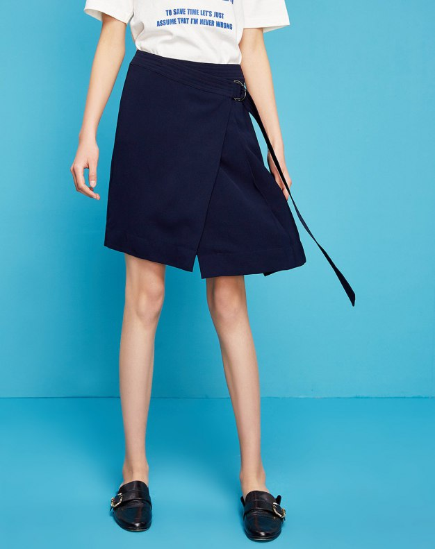 Blue High Waist Women's A Line Skirt
