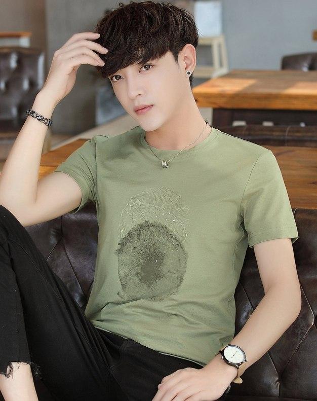 Green Round Neck Short Sleeve Loose Men's T-Shirt