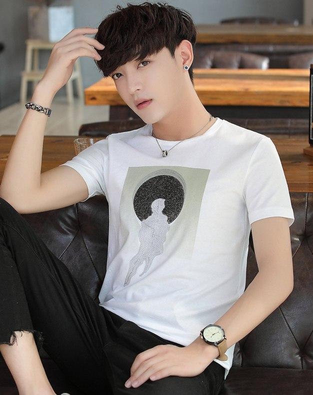 White Plain Round Neck Short Sleeve Standard Men's T-Shirt