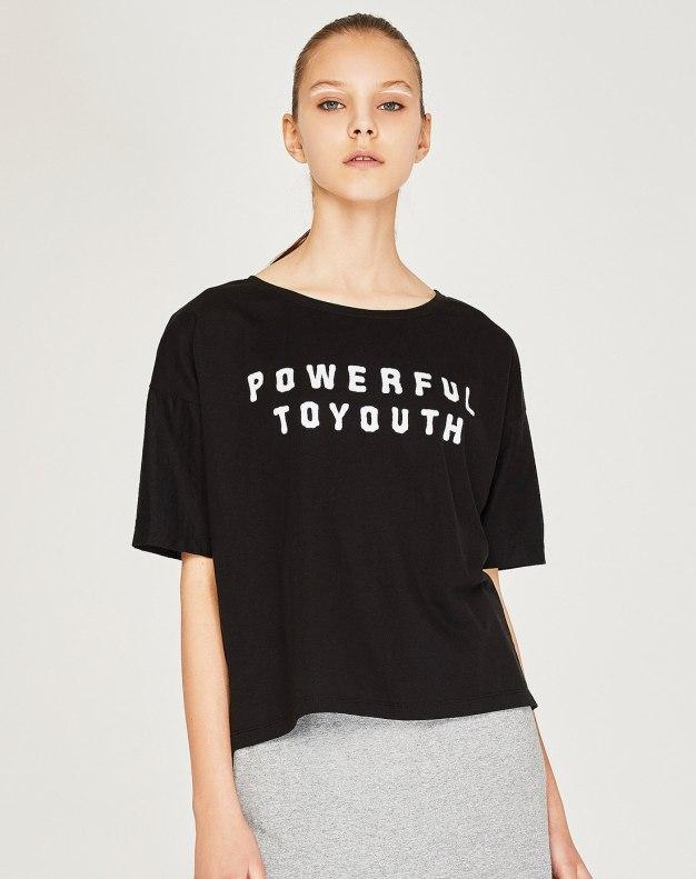 Black Print Round Neck Short Sleeve Loose Women's T-Shirt
