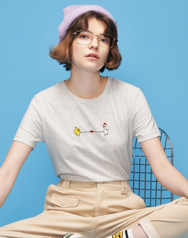 Gray Round Neck Short Sleeve Loose Women's T-Shirt