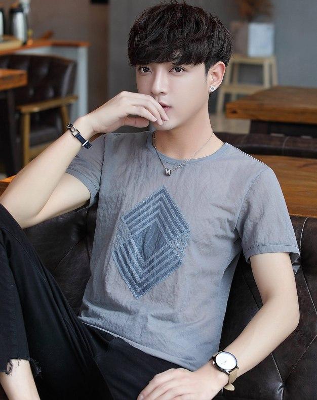 Gray Round Neck Short Sleeve Standard Men's T-Shirt
