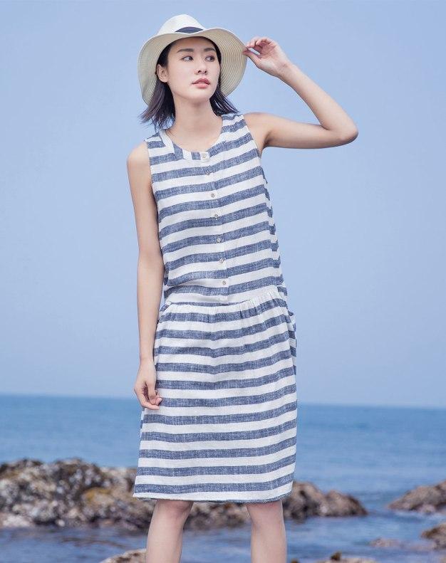 Indigo Round Neck Sleeveless 3/4 Length Fitted Women's Dress
