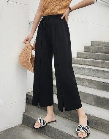 Black High Waist Slit Cropped Women's Pants