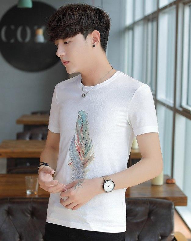 White Animal Round Neck Short Sleeve Loose Men's T-Shirt
