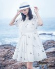 White Round Neck Short Sleeve 3/4 Length Fitted Women's Dress