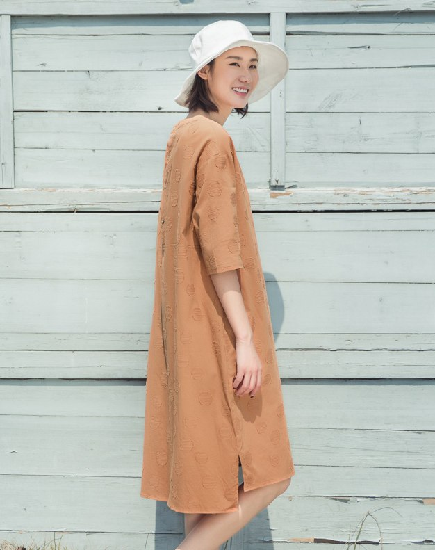 Round Neck Half Sleeve Long Standard Women's Dress