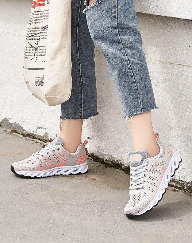 Gray Round Head Flat Anti Skidding Women's Sport Shoes