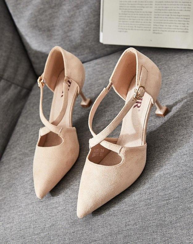 Apricot Pointed High Heel Heighten Women's Sandals