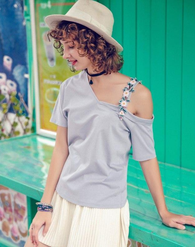 Blue Off Shoulder Collar Short Sleeve Standard Women's T-Shirt