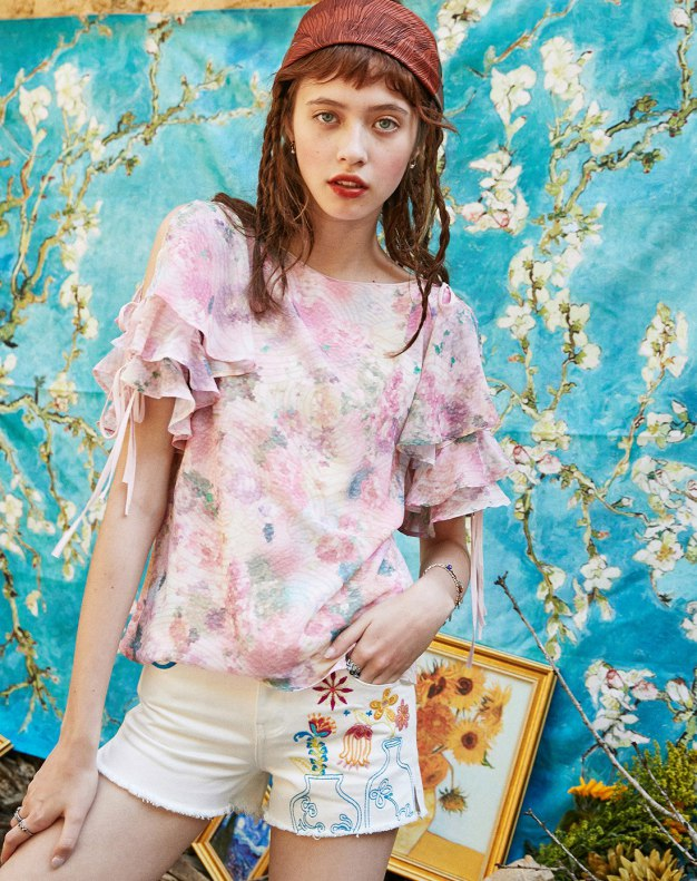 Colourful Round Neck Elastic Short Sleeve Women's Shirt