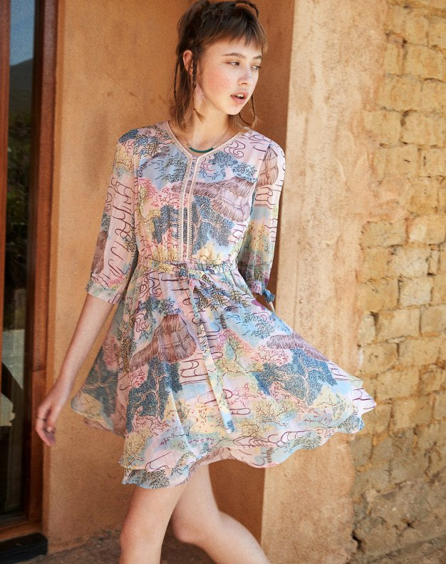 Colourful V Neck Sleeve Standard Women's Dress