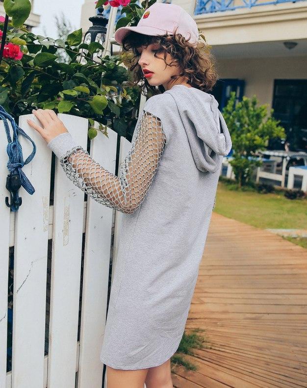 Gray Hoodie Long Sleeve Pencil Skirt Standard Women's Dress